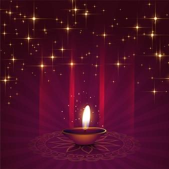 Bello fondo di diya per il festival di diwali