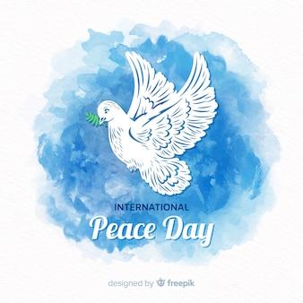 Bello fondo di giorno di pace con la colomba dell'acquerello