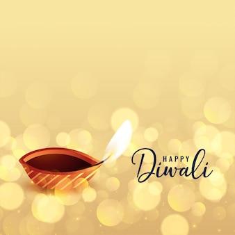 Bello fondo felice del bokeh di diwali con il diya