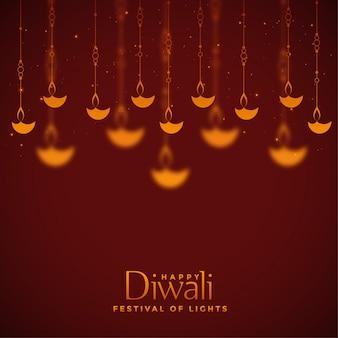 Bello fondo rosso della decorazione delle lampade di diwali