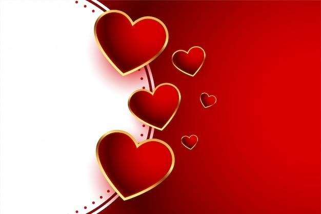 Bello fondo rosso di giorno di biglietti di s. valentino dei cuori