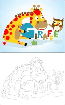 Bello fumetto della giraffa con il gufo sveglio