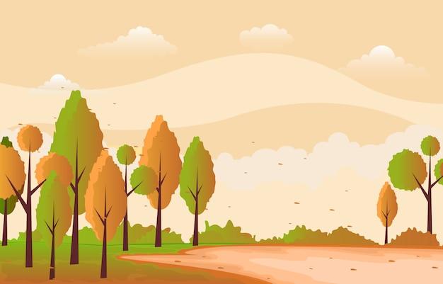 Bello giardino del parco in autunno di caduta con l'illustrazione del paesaggio del cielo dell'albero