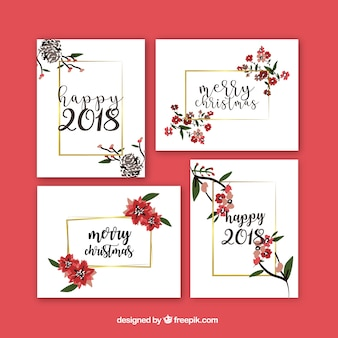 Bello insieme di biglietti di auguri di nuovo anno con i fiori