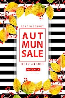 Bello manifesto di vendita dei fogli di autunno dell'acquerello
