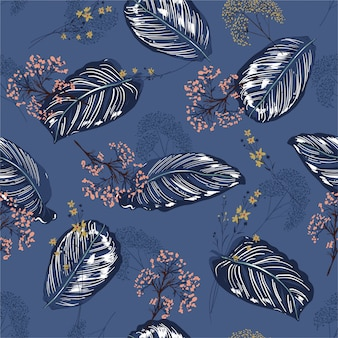 Bello modello botanico tropicale esotica e floreale esotica delle foglie