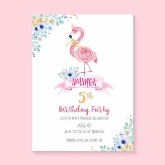 Bello modello dell'invito della festa di compleanno con l'illustrazione dipinta a mano del fenicottero e del fiore dell'acquerello