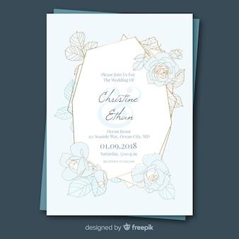 Bello modello dell'invito di nozze floreale con la struttura dorata