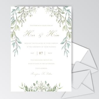 Bello modello della partecipazione di nozze dell'acquerello con fogliame