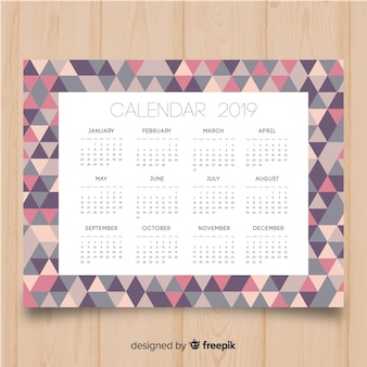 Bello modello di calendario 2019