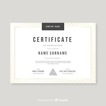 Bello modello di certificato con elementi dorati