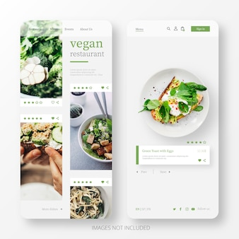 Bello modello di pagina di destinazione del ristorante vegano per cellulare
