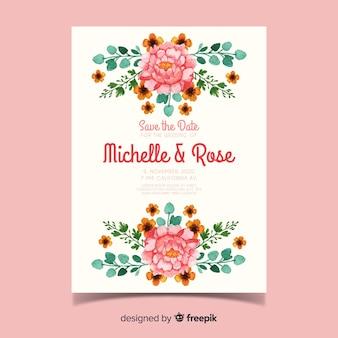 Bello modello floreale dell'invito di nozze dell'acquerello