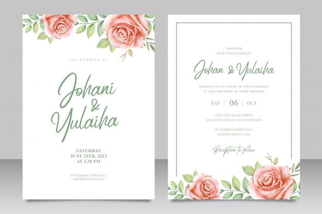 Bello modello floreale della carta dell'invito di nozze
