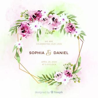 Bello modello floreale della partecipazione di nozze della struttura dell'acquerello