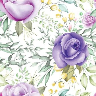 Bello modello senza cuciture acquerello floreale e foglie.