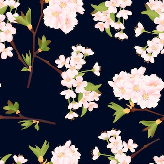 Bello modello senza cuciture del fiore di ciliegia