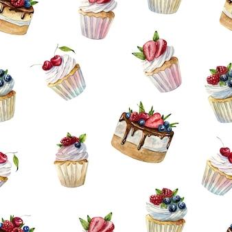 Bello modello senza cuciture dell'acquerello con cupcakes e torte