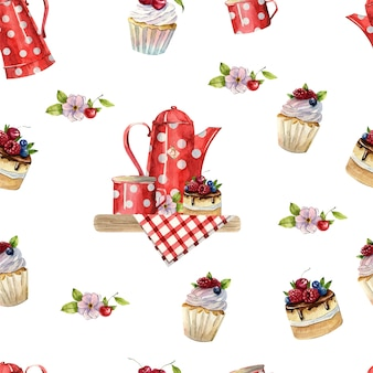 Bello modello senza cuciture dell'acquerello con teiere, tazze, torte e cupcakes