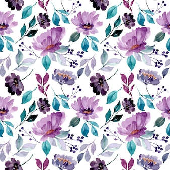 Bello modello senza cuciture dell'acquerello floreale viola verde