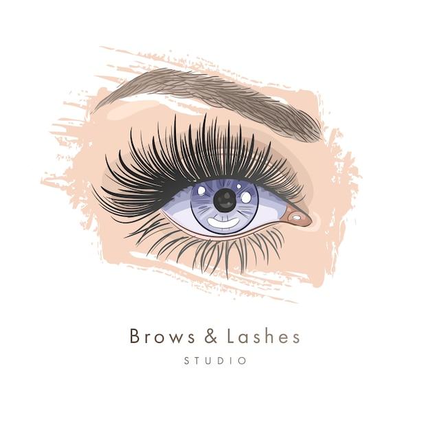 Bello occhio femminile disegnato a mano con lunghe ciglia nere e sopracciglia