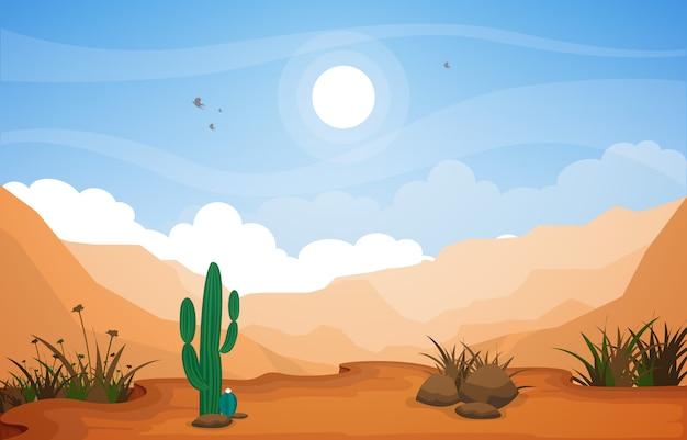 Bello paesaggio occidentale del deserto con la roccia cliff mountain illustration del cielo