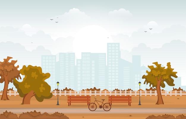 Bello parco della città in autunno di caduta con l'illustrazione dell'orizzonte della costruzione