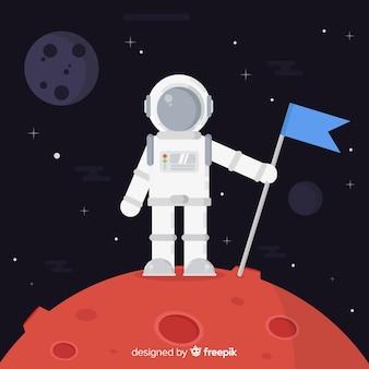 Bello personaggio astronauta con design piatto