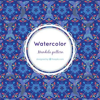 Bello reticolo mandala con acquerelli blu