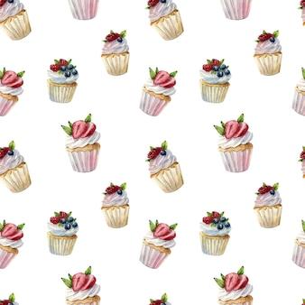 Bello reticolo senza giunte dell'acquerello con cupcakes