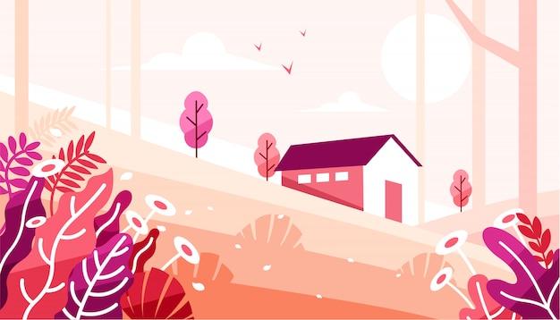 Bello scenario con una casa nell'illustrazione della foresta