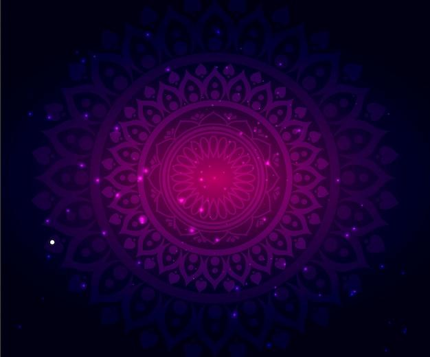 Bello sfondo astratto con particelle e mandala con gradienti