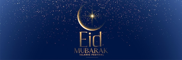 Bello striscione blu di eid mubarak