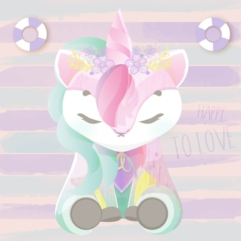 Bello unicorno di doodle baby in acquerello.