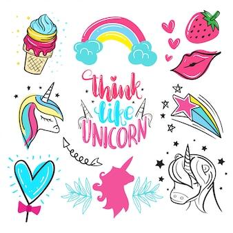 Bello unicorno disegnato a mano