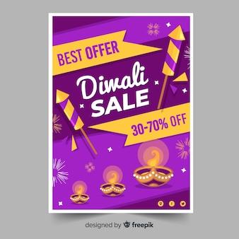 Bello volantino di vendita di diwali con design piatto
