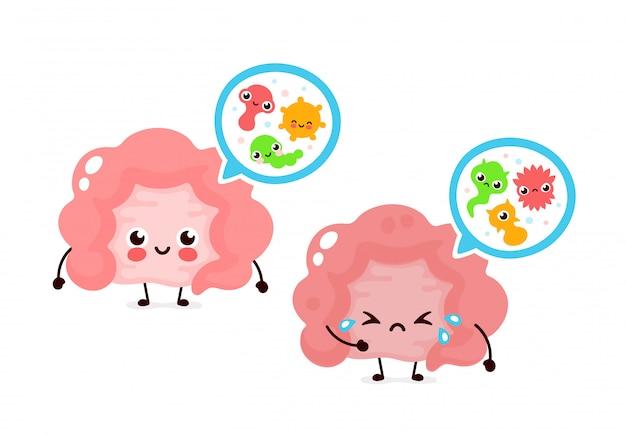 Bene microscopico e batteri, microflora, virus nell'intestino. personaggio dei cartoni animati icona illustrazione piatta. microflora intestinale umana, probiotici. apparato digerente o canale alimentare