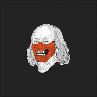 Benjamin franklin maschera illustrazione design