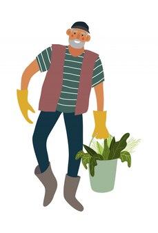 Benna di trasporto isolata dell'uomo con le verdure.
