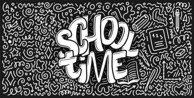 Bentornati a scuola citazione scritta e doodle sfondo.