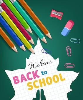 Bentornati a scuola lettering e silhouette foglia d'acero