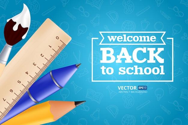 Bentornati a scuola: oggetti con matita, righello, penna e pennello. illustrazione con elementi educativi realistici sul modello senza soluzione di continuità