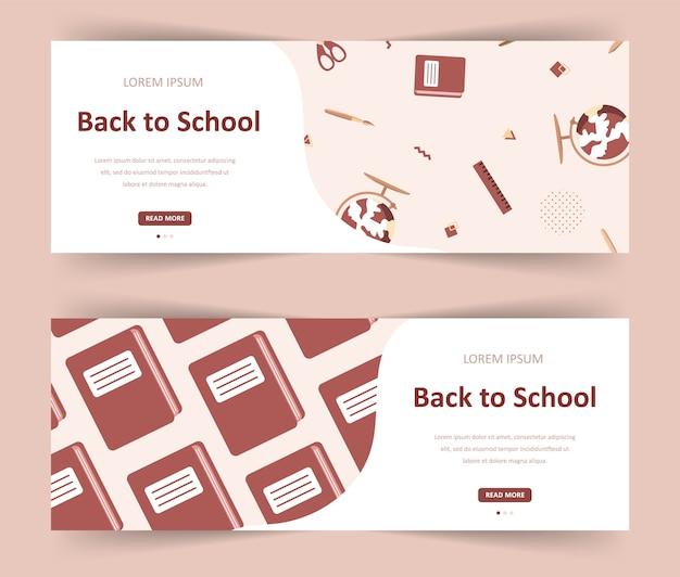 Bentornato a scuola. illustrazione moderna in stile piatto. banner web per diverse comunità educative e creatività.