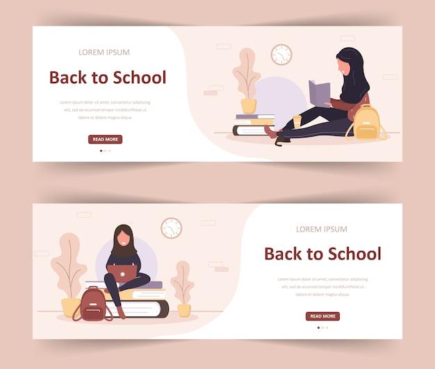 Bentornato a scuola. libro di lettura di ragazze arabe. studenti intelligenti. personaggio dei cartoni animati delle donne. illustrazione moderna in stile piatto. banner web per diverse comunità educative e creatività.
