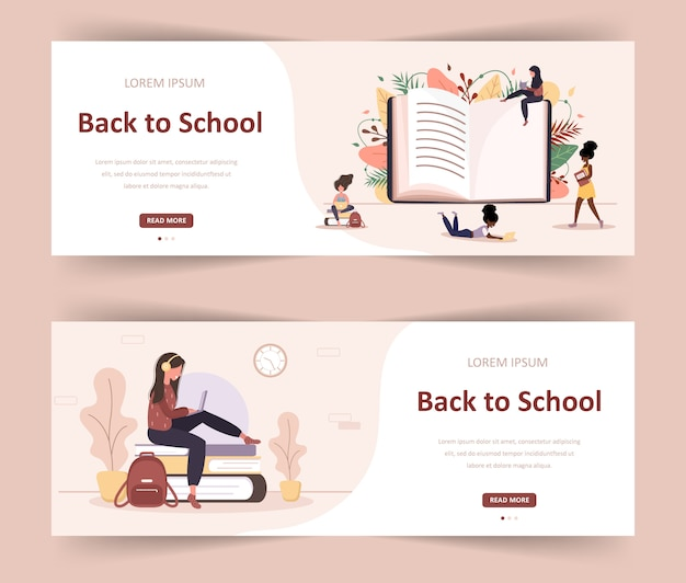 Bentornato a scuola. libro di lettura per ragazze. studenti intelligenti. personaggio dei cartoni animati delle donne. illustrazione moderna in stile piatto. banner web per diverse comunità educative e creatività.