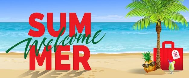 Benvenuta estate, grande vendita, banner. bevanda fredda, ananas, occhiali da sole, palme, borsa rossa, spiaggia