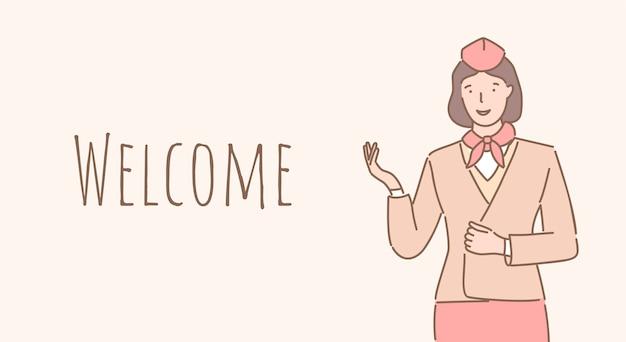 Benvenuti a bordo del design del banner. l'hostess ti dà il benvenuto nel design del poster di contorno dell'aeroplano.