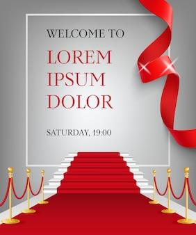 Benvenuti a lettering con ingresso tappeto rosso