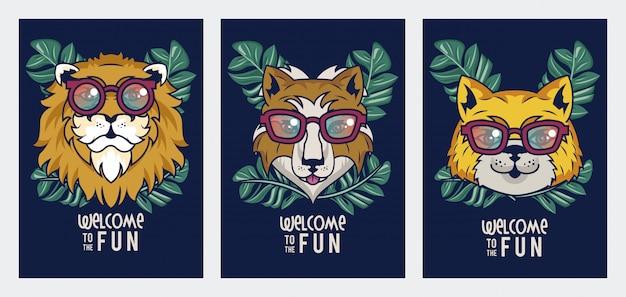 Benvenuti al divertimento con gli animali usando gli occhiali