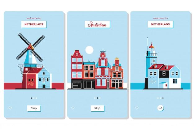 Benvenuti in olanda con le carte dei souvenir di benvenuto